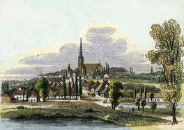 Bergen auf Rügen, Holzstich, um 1850