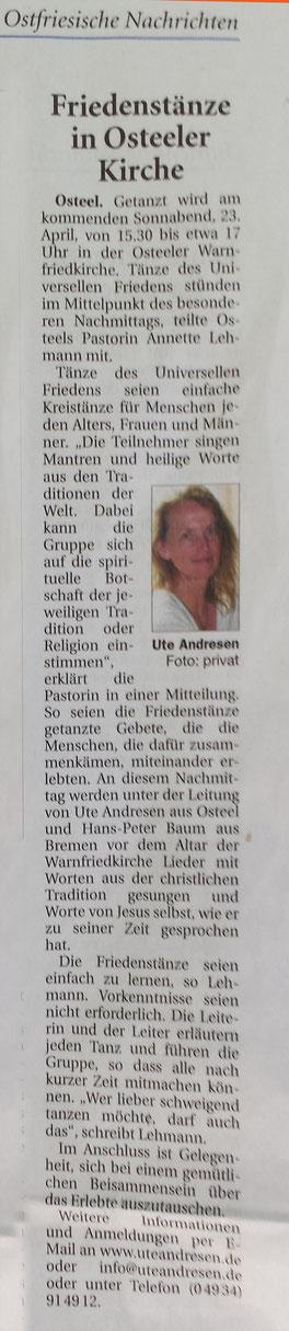 Aus den Ostfriesischen Nachrichten vom 21.4.2016