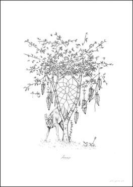 kitsc-paradise kp exposition encre de chine gravure pommier chevreuils instant sauvage