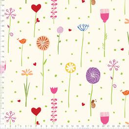 Kinderstoff für Mädchen und Babys mit Blumen zum Nähen