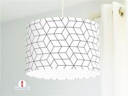 Lampe fürs Schafzimmer und Kinderzimmer mit geometrischem Muster in Schwarz Weiß aus Baumwolle