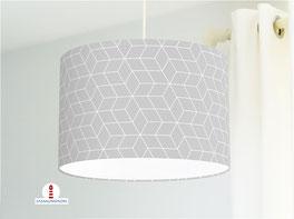 Lampe fürs Schlafzimmer und Wohnzimmer mit skandinavischem Muster in Grau aus Baumwolle