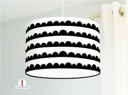 Lampe für Kinderzimmer und Schlafzimmer mit Halbkreisen in Schwarz Weiß aus Baumwollstoff