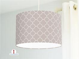 Lampe fürs Wohnzimmer und Schlafzimmer mit marokkanischem Muster in Graubraun aus Baumwolle