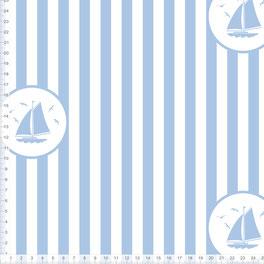 Stoff maritim für Kinder und Babys mit Segelbooten und Streifen in Hellblau zum Nähen