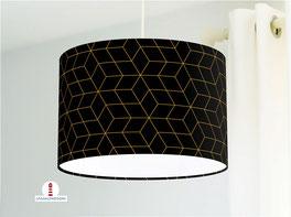 Lampe fürs Wohnzimmer und Stehlampe mit skandinavischem Muster in Schwarz und Goldfarben aus Baumwolle