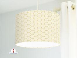 Lampenschirm fürs Schlafzimmer und Wohnzimmer mit Hexagon in Beige aus Baumwollstoff