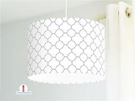 Lampe fürs Schlafzimmer und Stehlampe mit marokkanischem Muster in Weiß und Grau aus Baumwollstoff
