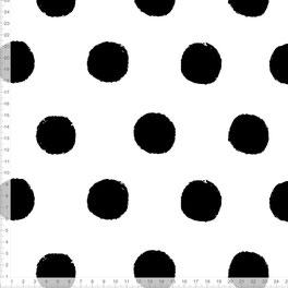 Bio-Stoff mit schwarzen Punkten monochrom für Kinderzimmer und Babyzimmer zum Nähen in Schwarz Weiß