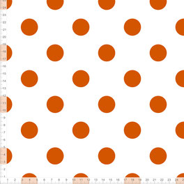 Stoff mit Punkten in Orange auf Weiß für Mädchen und Babys zum Nähen