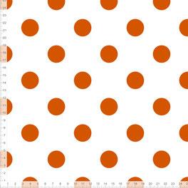 Bio-Stoff mit Punkten in Orange auf Weiß für Mädchen und Babys zum Nähen