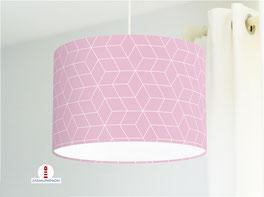 Lampe fürs Schlafzimmer und als Stehlampe mit skandinavischem Muster in Altrosa aus Baumwolle