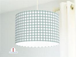 Lampe für Küche und Schlafzimmer mit Karo Muster in Grüngrau aus Bio-Baumwollstoff