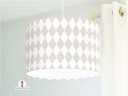 Lampe fürs Schlafzimmer und Kinderzimmer mit Rautenmuster in Graubraun und Weiß aus Baumwollstoff