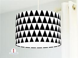 Lampe für Kinderzimmer und Schlafzimmer mit schwarz-weißen Dreiecken aus Baumwollstoff - andere Farben möglich