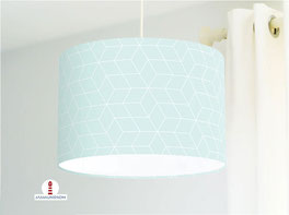 Lampe fürs Kinderzimmer und Schlafzimmer mit skandinavischem Muster in hellem Türkis aus Baumwollstoff