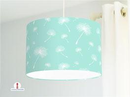Lampe fürs Schlafzimmer und Mädchen mit Pusteblumen in Mint aus Baumwolle