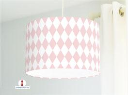 Lampe fürs Kinderzimmer Mädchen und Schlafzimmer mit Rauten in hellem Altrosa und Weiß aus Baumwolle - andere Farben möglich