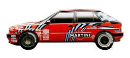 vettura da rally lancia delta 16v integrale rossa dell' 89 grafica completa da pubblimais in torino realizzata da mais vinicio