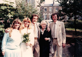 1986: Wedding with Adele.  From left to right: Jill Purce, Adele, Francis,  Juliette Huxley and Rupert Sheldrake