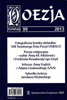"""Prosa-Dokumentation """"Entzeitlicht"""" / """"POESIE heute"""", Nr.99, Literaturzeitschrift, IBiS, Warschau, Polen 2013"""