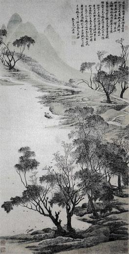 Wu Li, Printemps sur le lac, rouleau mural, encre et couleur sur papier, 1676