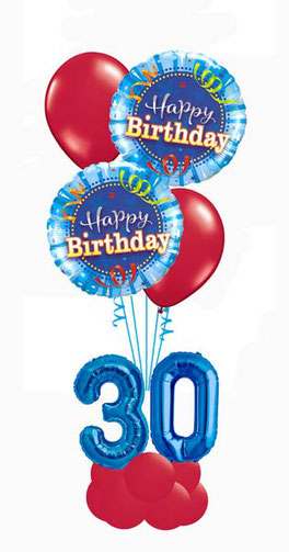 Ballon Luftballon Folienballon Latexballon Heliumballon Geschenk Happy Birthday Geburtstag 20 30 40 50 60 blau grün Mann Frau Party Überraschung Mitbringsel Deko Dekoration Geschenk ROT zAHL