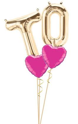 Bouquet Folienballon Luftballon Ballon Zahl Ballonzahl Folienzahl Zahlen Buchstaben XXL Initialen  Hochzeit Namen Brautpaar Party Helium Northstar Balloon rosegold silber gold pink blau Herzen Anfangsbuchstaben
