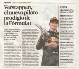 Verstappen el nuevo piloto prodigio de la Fórmula 1.