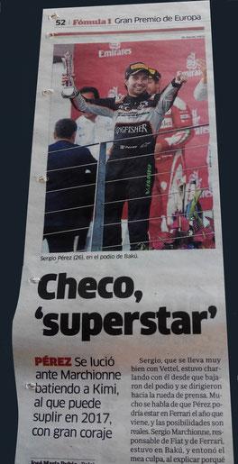 "Checo ""superstar"" en Baku 2016"