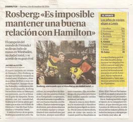 """Nico Rosberg: """"Es imposible mantener una buena relación con Hamilton"""""""