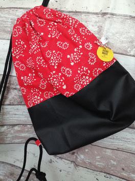 Turnbeutel Gymbag Rucksack Blumen Blume geblümt handgemacht Handarbeit handmade SaSch Selbstgefertigtes aus Schwaben
