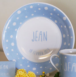 assiette porcelaine Pois Nara Porcelaine