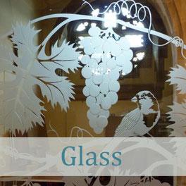 sandblasted etched glass nature bird art