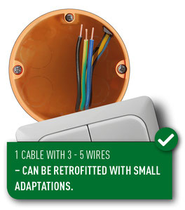 wiring scheme with 1 cable with 3 to 5 wires