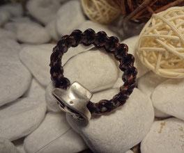 Pferdehaar-Ring flach geflochten mit Engel-Perle, von oben