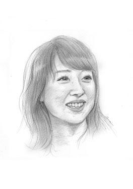 鉛筆スケッチ 似顔絵 川田裕子