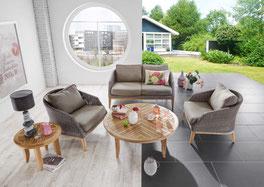 Polyrattan Teaktisch Teakbeistelltisch Beistelltisch Wohnzimmer Hocker Sessel Gartensessel Geflechtsessel Polyrattan
