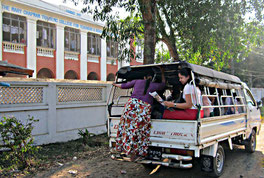 The school bus transporting 17 pupils to and from the Mary Chapman Institute.