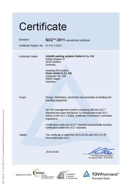 HAANE welding systems SCC Certificate
