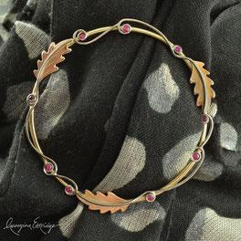 Oak Leaves Ruby Wedding Scarf Ring
