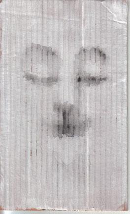 """""""Cara feliz 011"""" 25,4x15,3cm Gesso, wasserlösliches Graphit auf Pappe. 2013"""