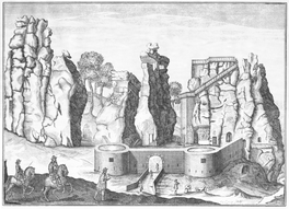 Externsteine mit barocken Baumaßnahmen unter Graf Hermann Adolf zur Lippe. Kupferstich von Elias van Lennep, um 1663-66 (Gemeinfrei: https://commons.wikimedia.org/w/index.php?curid=2984100