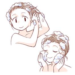 髪・顔・体を全身シャンプーやさしくキレイに洗う使い方イラスト