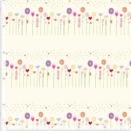 Stoff für Mädchen Babys und Kinderzimmer mit Blumen aus Baumwolle zum Nähen - andere Farben möglich