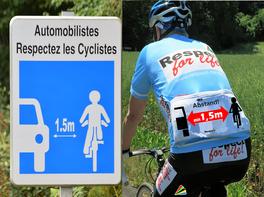 Verkehrsschild: 1,5 m Abstand halten mit respect-for-life! Radfahrer