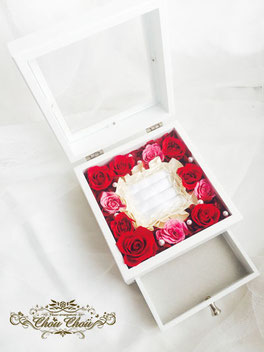 プロポーズ エンゲージリング ダイヤ ケース ジュエリーボックス 薔薇 リングホルダー 花屋 オーダーメイド 舞浜 ChouChou