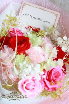 プロポーズ フラワーギフト プリザーブドフラワーの花束 メッセージ付き