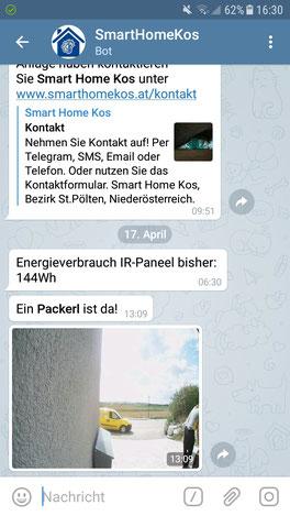 """Screenshot Telegram mit der Meldung """"Ein Packerl ist da!"""""""