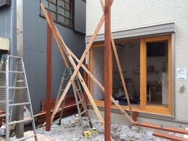 パイン工房多摩地区立川市ウッドデッキの組み立て